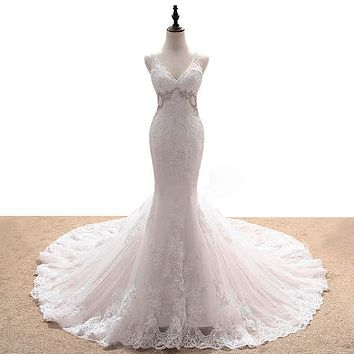 Elegant Multi Layered Mermaid Dress with Beaded Sequin Lace Backless Wedding Gown
