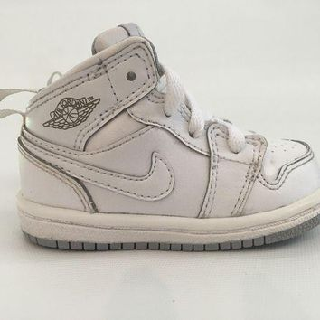 DCK7YE Air Jordan 1 White Mid Toddler Shoe 4C