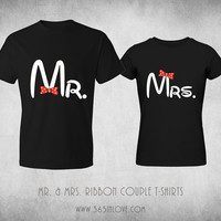 Disney Matching Couple T Shirts - Cute Couples Mickey and Minnie Mr and Mrs Black Tops Romantic Couples Clothing