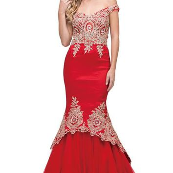 Sparkly off the shoulders mermaid prom dress  dq2413