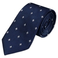 Woven navy and white fleur de lys tie | Men's woven silk ties from Charles Tyrwhitt | CTShirts.com