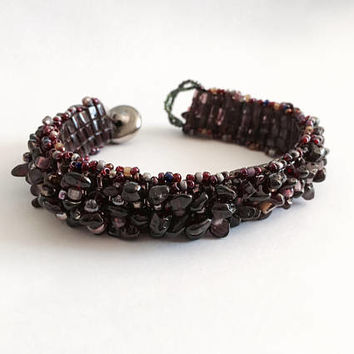 "Vintage Garnet Beaded 7"" Bracelet with Toggle Type Clasp, Deep Garnet Red Bracelet"