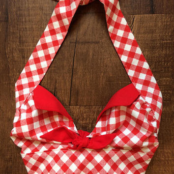 Handmade Red Gingham Country Western Vintage Style 1950s Retro Rockabilly Halter Midriff Crop Top XS Small Medium