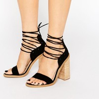 New Look Strappy Tie Suede Wooden Heeled Sandal