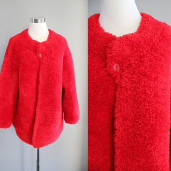 Handknitted Sharp Red Chunky Oversized Coat Knit Cardigan Knit Chunky Coat Mid-length Cozy Vintage Size OS #O130A