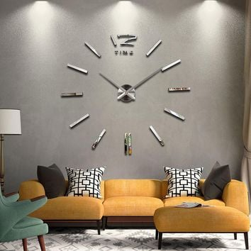 2015 new hot sale wall clock watch clocks Modern Antique Style home decoration 3d diy acrylic mirror stickers Quartz Living