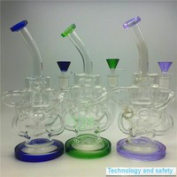 Glass recycler bongs new design colorful perfect swirl arms inline heady dab oil rigs hookahs Gear perc water pipe