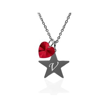 Pink Box Dainty Star Initial Necklace Made With Crystals From Swarovski  - V