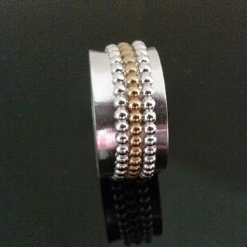 Unisex Beaded Spinner Ring For Relieving Stress and Meditation, Handmade with Sterling Silver and 24K Gold Plate, Handcrafted Jewelry. SR104