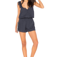 J.O.A. Button Down Lace Romper in Navy
