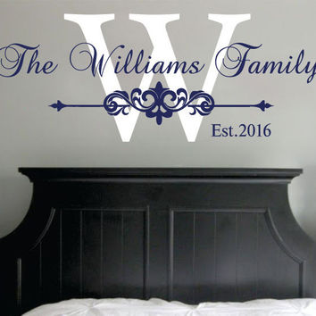 Family Name Wall Decal Established Year Monogram Sticker Vinyl Home Decor SM141