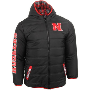 Nebraska Cornhuskers Youth Bubble Hooded Jacket – Black - http://www.shareasale.com/m-pr.cfm?merchantID=7124&userID=1042934&productID=555176093 / Nebraska Cornhuskers