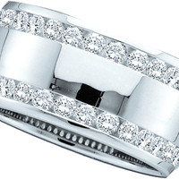 14kt White Gold Womens Round Channel-set Diamond Double Row Wedding Band 1.00 Cttw 40745