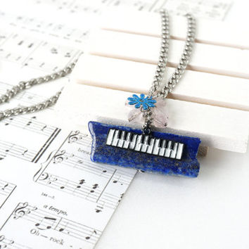 Piano Keyboard Charm Necklace on Blue Lapis Lazuli Stone Slice Pendant, Gift For Pianist and Music Lover