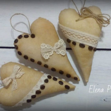 Set of 3 flavored coffee textile hearts Rustic heart Home decor Tilda heart Gift for her Christmas gift