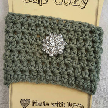 Crochet Coffee Cup Cozy. Made by Bead Gs on Etsy.