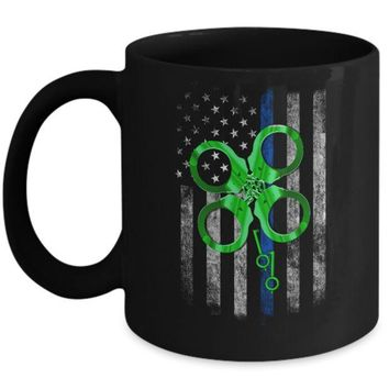 Thin Blue Line Happy St Patrick's Day Clover Police Mug