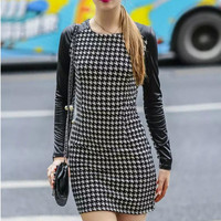 Slim Long-Sleeved Stitching Dress in Black