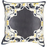 Charcoal Chinois Medallion Silk Pillow
