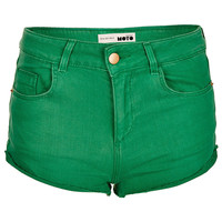 MOTO Green Denim Hotpants - Spring Greens - We Love - Topshop USA