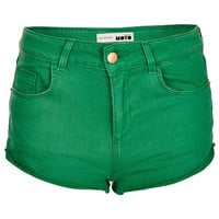 MOTO Green Denim Hotpants - Shorts - Clothing - Topshop USA