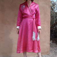 Vintage 1940s Quilted Robe Hot Pink Hollywood Glamour 2013190