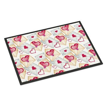 Watercolor Love Letters Indoor or Outdoor Mat 24x36 BB7569JMAT