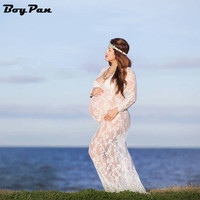 Maternity Photography Props Summer Sexy Black Lace Transperant Pregnant Props Pregnancy Summer Long Style beach dress