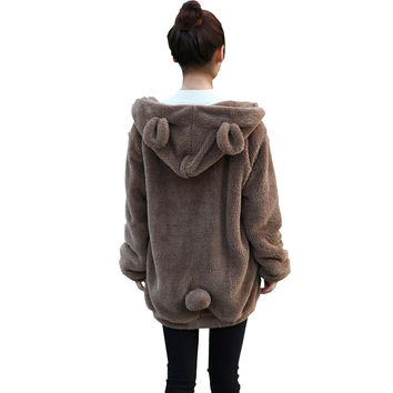 Warm Fluffy Rabbit/Bear Ears Winter Coat
