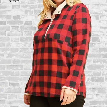 Buffalo Plaid Fleece Pullover - Red - XL only