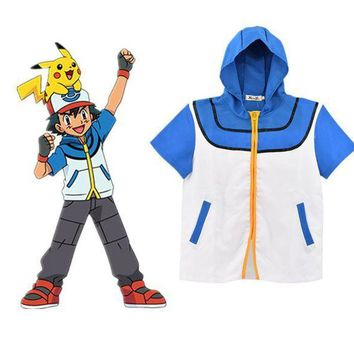 PEAPON Pokemon Go Ash Ketchum Trainer Cosplay Jacket Coat Pocket Monster Costume Hoodie