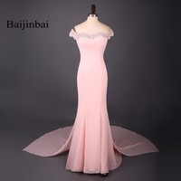 Baijinbai 2017 Sleeveless Beaded Crystals Bodice Prom Party Formal  Elegant Light Pink Mermaid Chiffon Bridesmaid Dresses