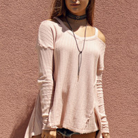Forever & Always Pink Long Sleeve Cross Strap Back Top