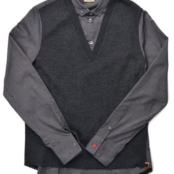 Paul Smith Women's Grey Cotton Knit Vest Button Down Shirt