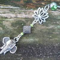 Sacred elephant belly ring  lotus flower  green zen yoga  Moroccan boho hipster new age gypsy hippie belly dancer beach and hipster style