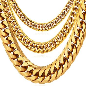 Men's Miami Cuban Link Chain Gold Jewelry Chains  Thick Stainless Steel Long Big Chunky Necklace