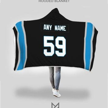 Carolina Panthers Hooded Blanket - Personalized Any Name & Any Number