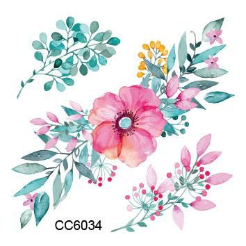 Rocooart CC6034 Colored Plant Rose Flower Designer Temporary Tattoo Sticker Body Art Water Transfer Fake Taty for Face