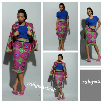 NEW African print pencil skirt pink/green