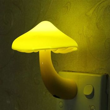 Warm Yellow Mushroom Wall Socket Lights Room Decor EU US Plug Light-controlled Sensor LED Night Light Home Bedroom Decoration
