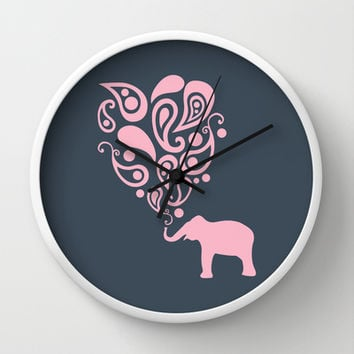 Pink Grey Paisley Elephant Pattern Design Wall Clock by Zany Du Designs