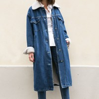 Denim Shearling Oversized Coat