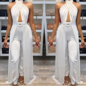 White Halter Neck Backless High Waisted Long Jumpsuit With Overlay