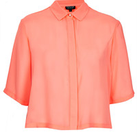 Cropped Pleat Back Shirt - Tops - Clothing - Topshop