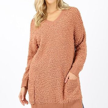 V-neck popcorn sweater tunic with two front pockets