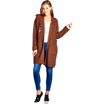 Long Sleeve Distressed Long Cardigan Sweater with Pockets, Coffee