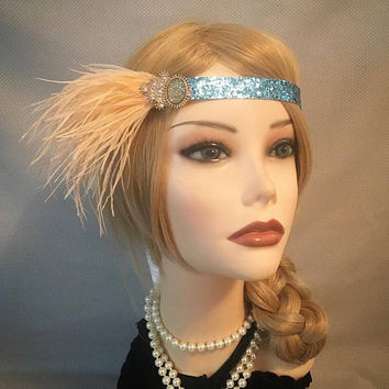 1920's style teal green turquoise feather 20's flapper headband headpiece piece 1920s glitter ivory satin ribbon rhinestone gold (714)