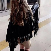 Way Out West Faux Leather Tassel Jacket for Your Precious Cowgirl