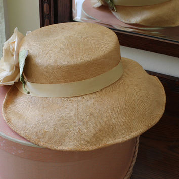 Vintage 1940s Straw Hat, Buffums California