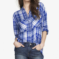 OVERSIZED PLAID SHIRT - BLUE AND WHITE from EXPRESS
